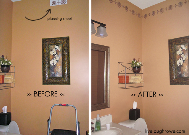 A stencil or two live laugh rowe for Bathroom stencils designs