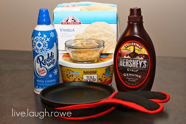 Supplies and Ingredients needed to make cookie monster