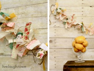 {DIY} Vintage Scrap Fabric and Twine Banner