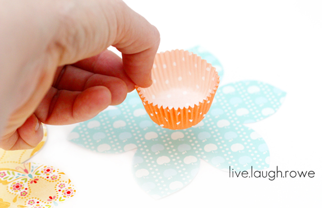 Making the Cupcake Liner Spring Favors