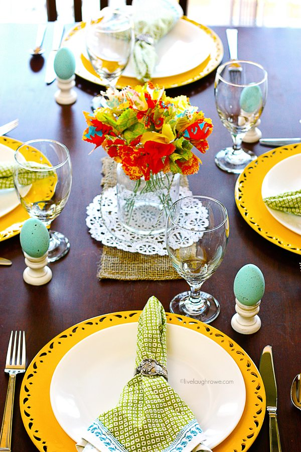 A colorful and festive Spring Tablescape. www.livelaughrowe.com #spring #tablescape