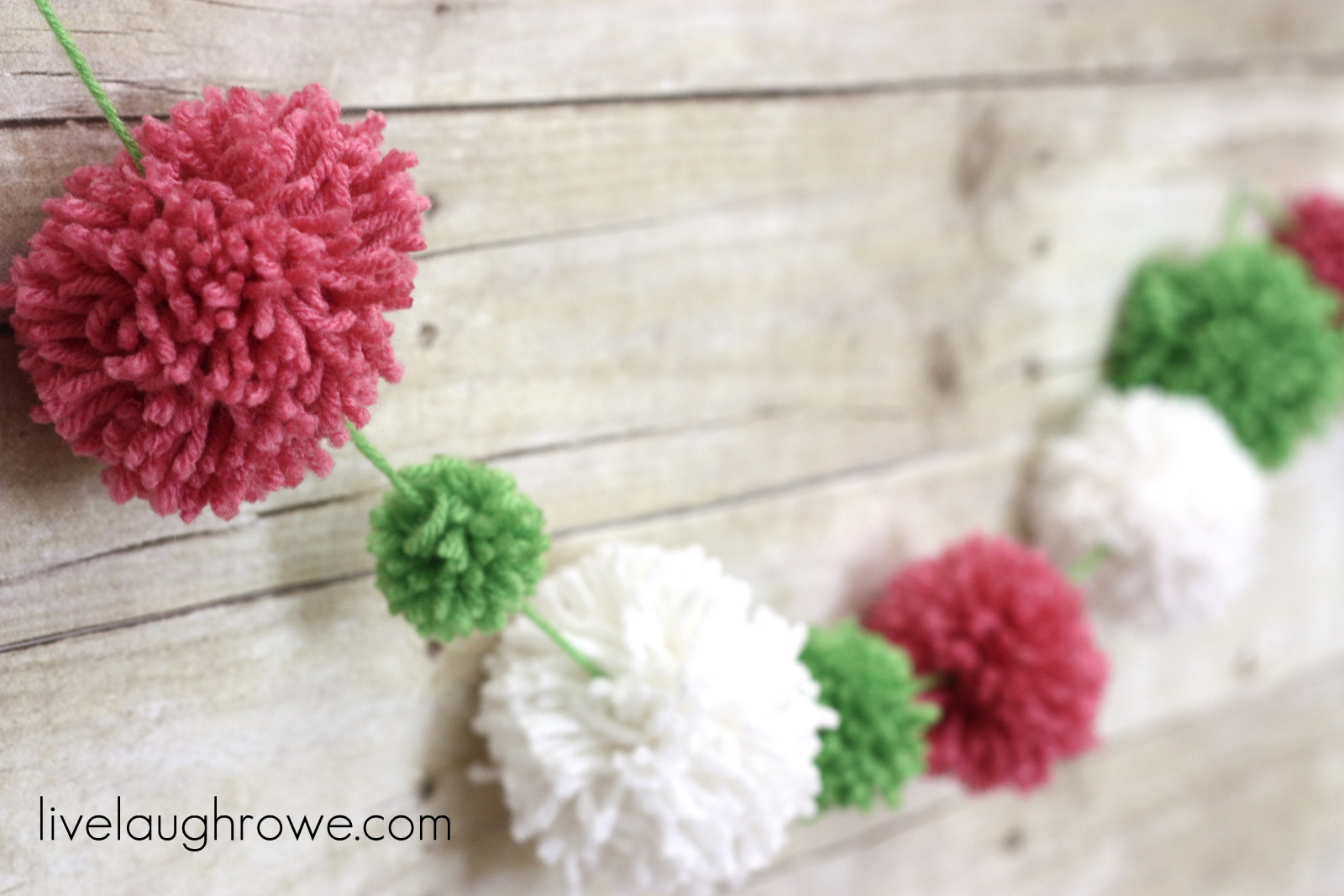 Watermelon Colored Pom Pom Garland with livelaughrowe.com