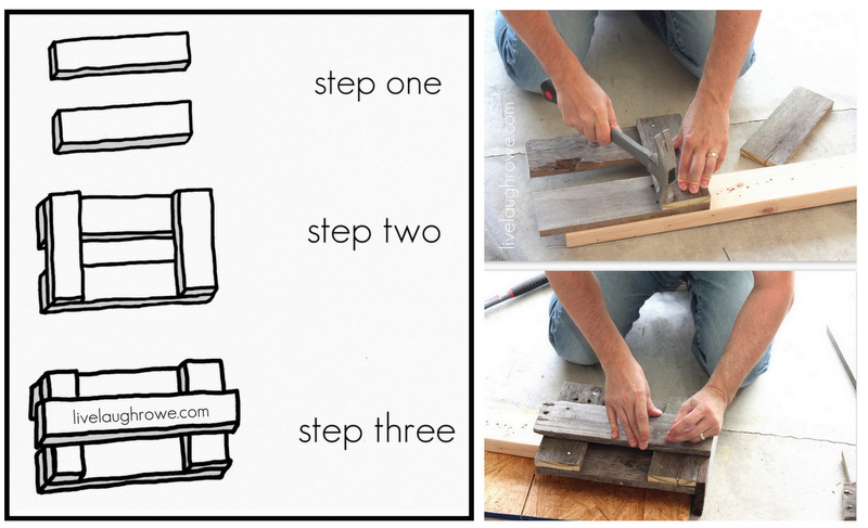 Rowes Furniture step one. Take two of your 12″ pieces and lay them horizontally ...