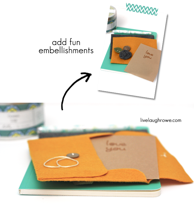 Embellish the Felt Envelopes with rolled felt or fabric flowers