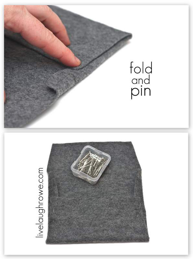 Fold and Pin the making of your Felt Envelope