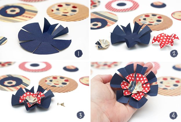 Patriotic Paper Flowers Perfect For A Centerpiec Or Party Favors