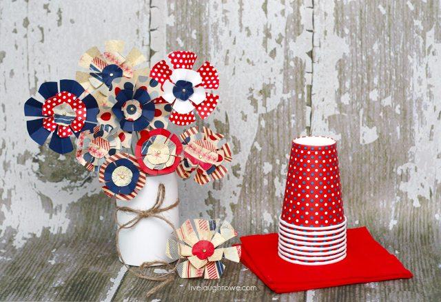 Super Fun DIY Patriotic Paper Flowers