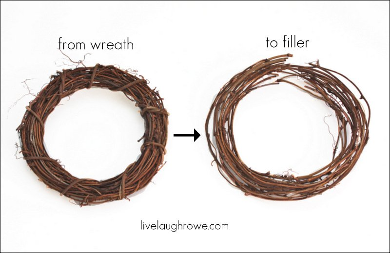 Dismantle the grapevine wreath and cut in one spot.