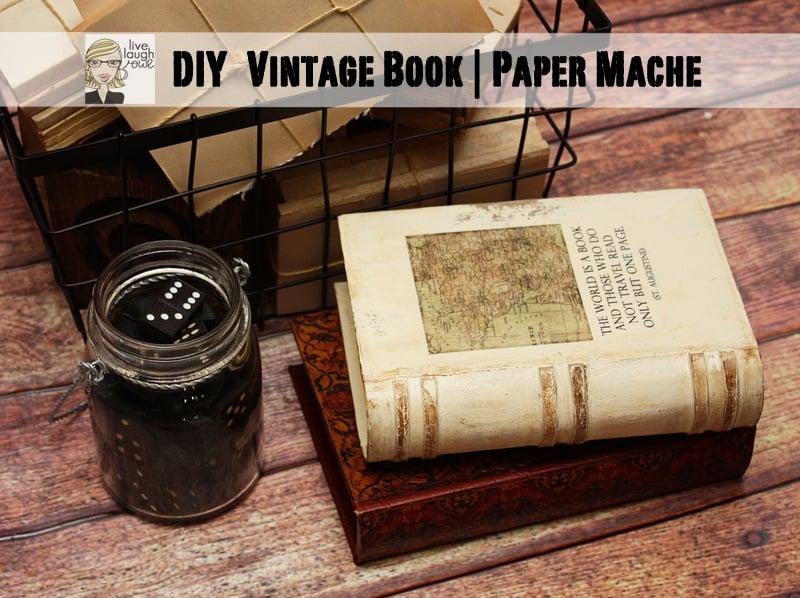 Make Vintage Book Cover : Diy vintage book paper mache live laugh rowe