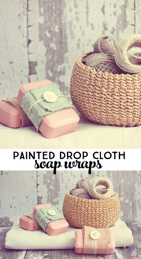Painted Drop Cloth soap wraps are great to gift soaps to guests, as favors or set out for unique bathroom decor! www.livelaughrowe.com