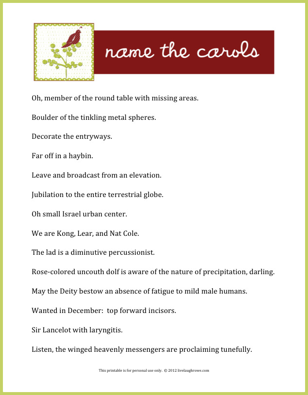 Name the Carols | A Holiday Game + Printable - Live Laugh Rowe