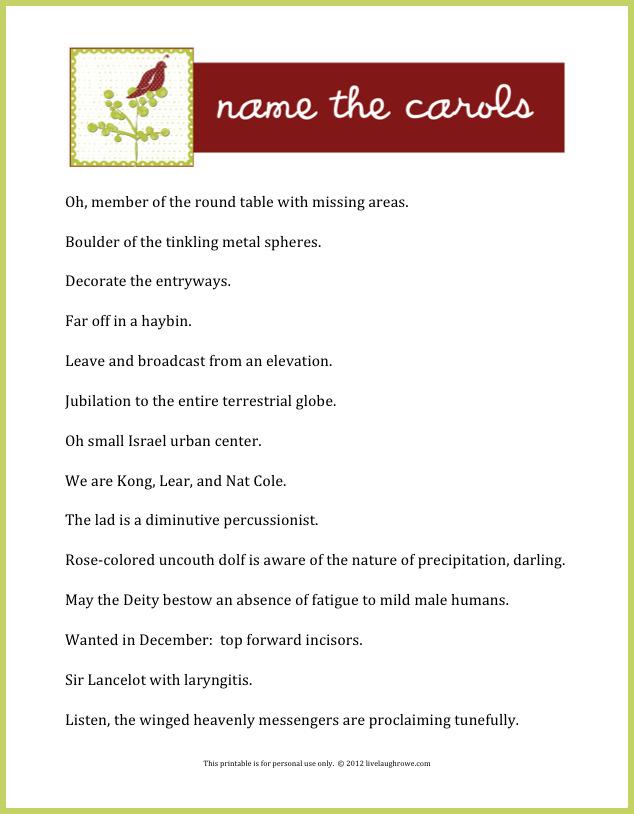 Name the Carols | A Holiday Game + Printable - Live Laugh Rowe