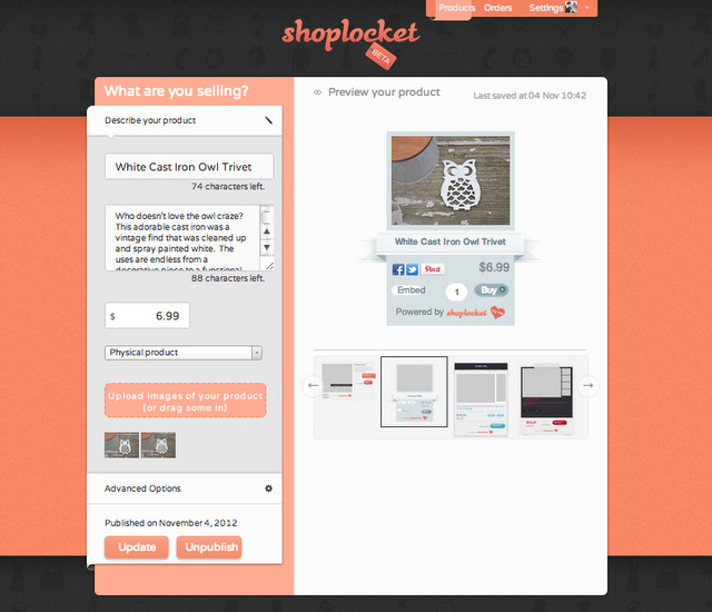 Adding the product info into ShopLocket with livelaughrowe.com