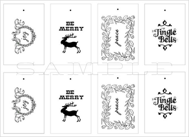 Candid image regarding printable christmas tags black and white
