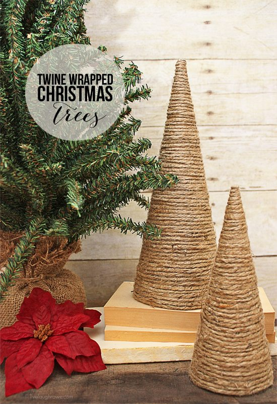 DIY Twine Wrapped Christmas Trees with livelaughrowe.com #diy #christmastrees