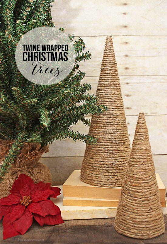 Diy Christmas Decorations Alisha : Twine wrapped christmas trees live laugh rowe