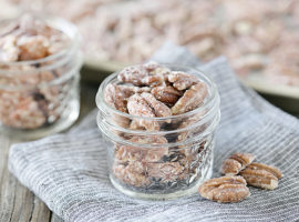 No-Bake Candied Pecans. These are so easy to make and incredibly delicious, making great snacks, favors, gifts and more!