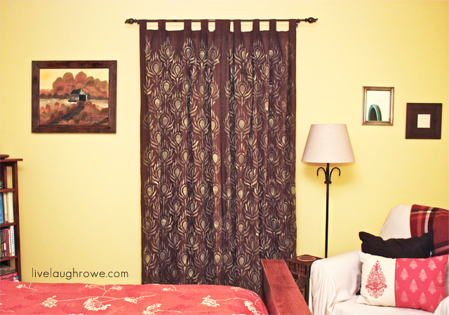 Rowes Furniture Peacock Feather Stenciled Curtains with LiveLaughRowe.com #diy # ...