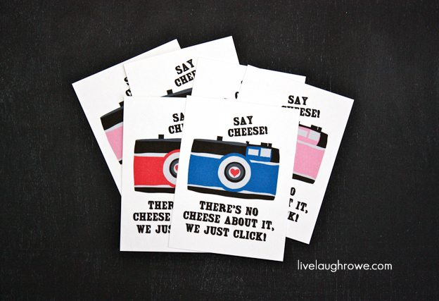 Say Cheese! Free Camera Valentines for kids of all ages... Grab yours at livelaughrowe.com