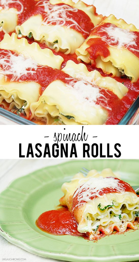 Delicious Spinach Lasagna Rolls that are perfectly satisfying and on the light side. Recipe at livelaughrowe.com