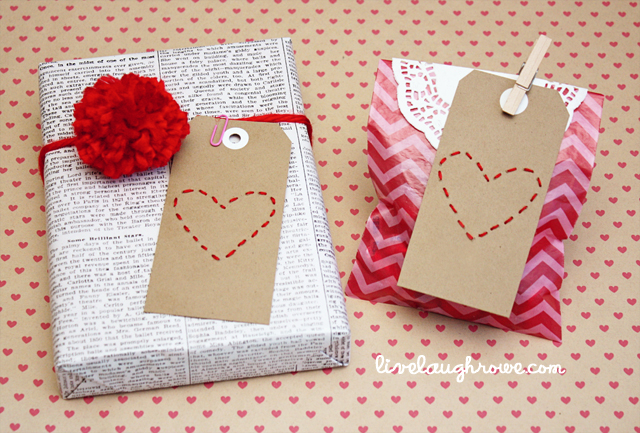 DIY Stitched Heart Valentine TagsLive Laugh Rowe