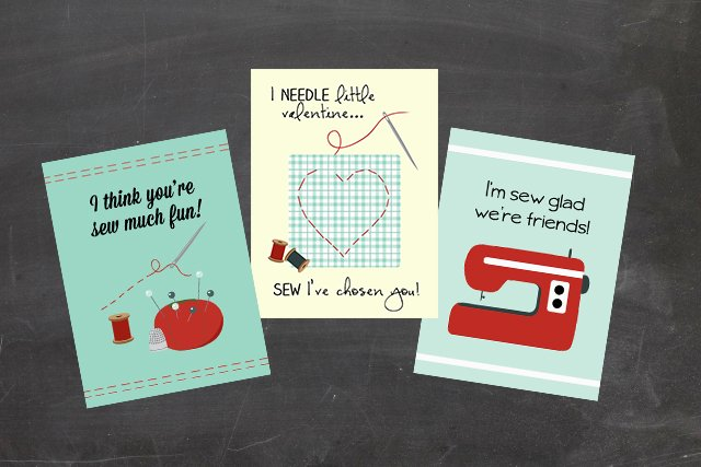 "Adorable sewing themed printable valentine cards! ""Sew"" cute. Print yours at livelaughrowe.com"