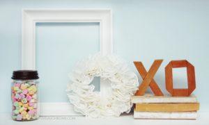 A Valentine Vignette with Paper Doily Wreath
