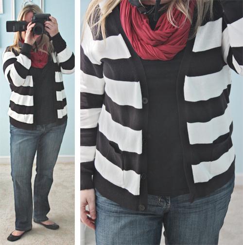 black white striped sweater