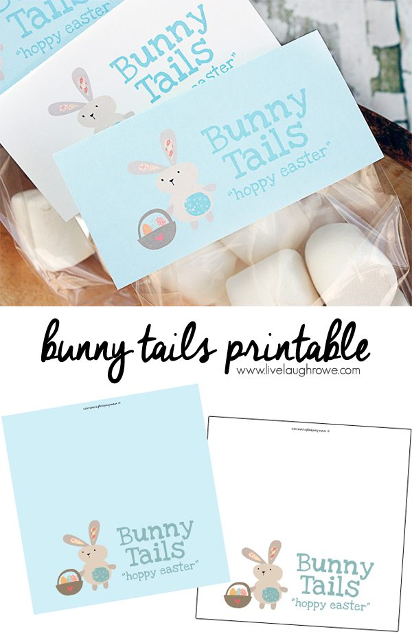 Bunny Tails Printable. Sweet bag toppers to use for packaging up marshmallows as bunny tails for gift giving to classmates and friends!