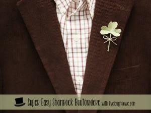 Super Easy DIY Shamrock Boutonniere