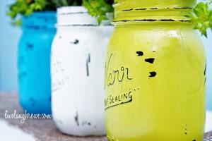 Vintage Inspired Painted Mason Jars