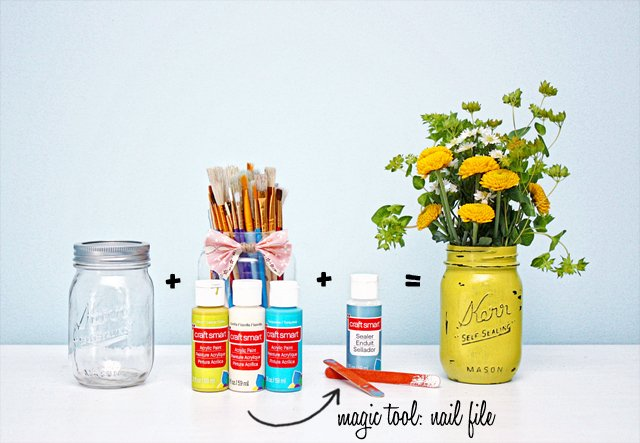 Supplies to make painted mason jars