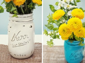 Vintage Inspired Painted Mason Jars