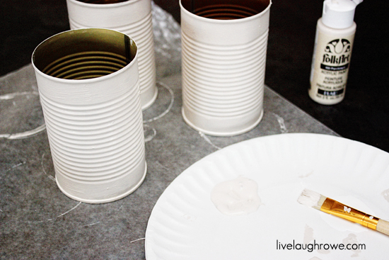 DIY Condiment Caddy painting cans