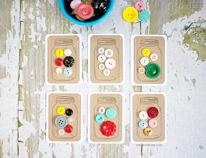 DIY Jars of Buttons handmade gift tags -- a perfectly fun and vintage embellishment for gifts! livelaughrowe.com