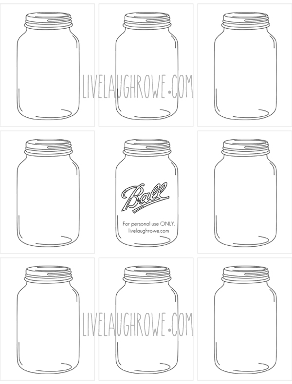 Mason Jars for printing and crafting with livelaughrowe.com