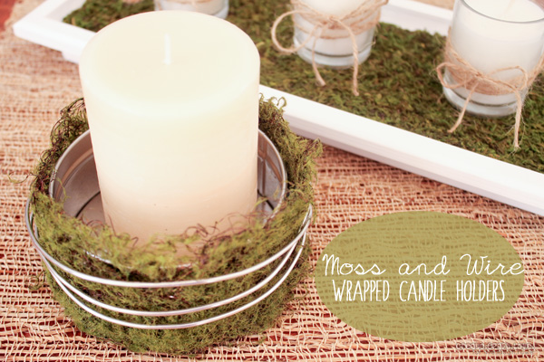Moss and Wire Wrapped Candle Holders from createcraftlove.com for livelaughrowe.com #moss #candleholders #summerdecor