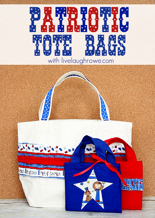 A Patriotic Craft using fabric and tote bags with livelaughrowe.com