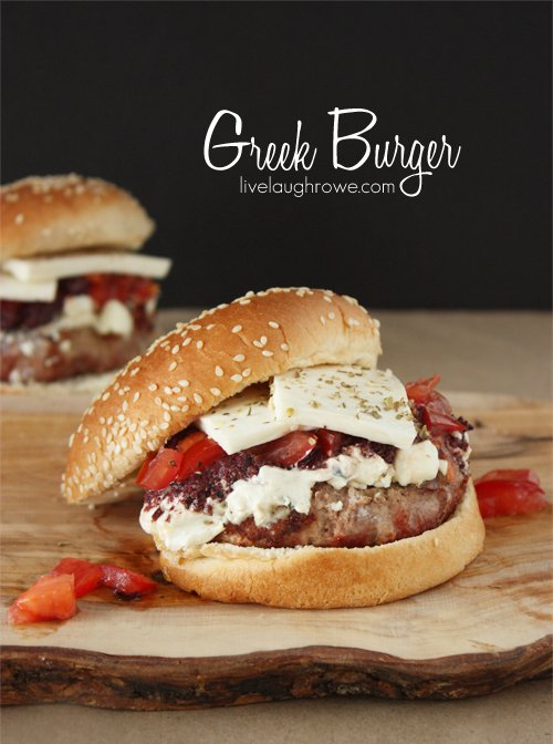 Greek Burger Recipe with livelaughrowe.com