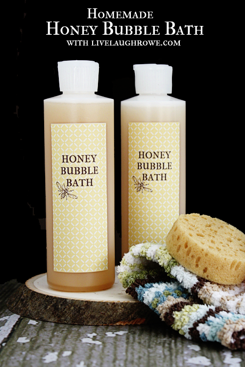 Homemade Honey Bubble Bath.  Great gift idea! Find the recipe at livelaughrowe.com