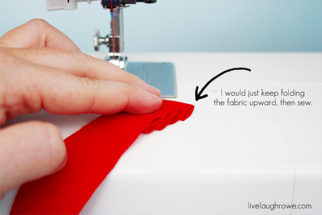 sewing ruffle for patriotic craft