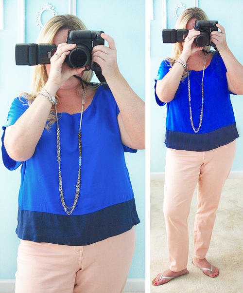 A little Royal Blue and Peach with livelaughrowe.com