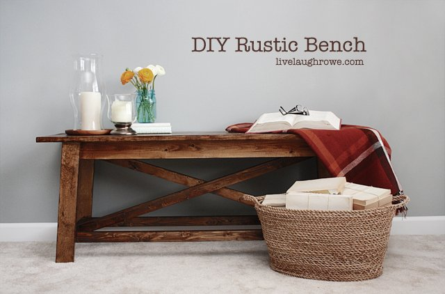 DIY Rustic Wood Bench with livelaughrowe com. DIY Rustic Wood Bench   Live Laugh Rowe