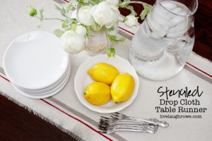 DIY Stenciled Drop Cloth Table Runner with livelaughrowe.com