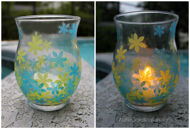 Guest Post | DIY Stained Glass Candle Holders with livelaughrowe.com for day and night use