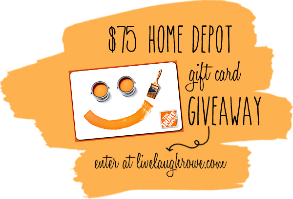 $75 Home Depot Gift Card Giveaway sponsored by Scotch Blue and The Home Depot at livelaughrowe.com