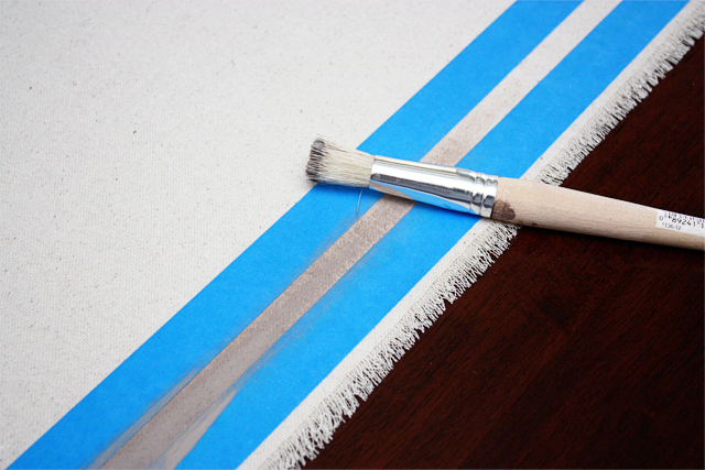 Stenciling large stripe on DIY Drop Cloth Table Runner