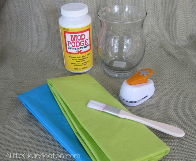 Supplies for DIY Stained Glass Candle Holders