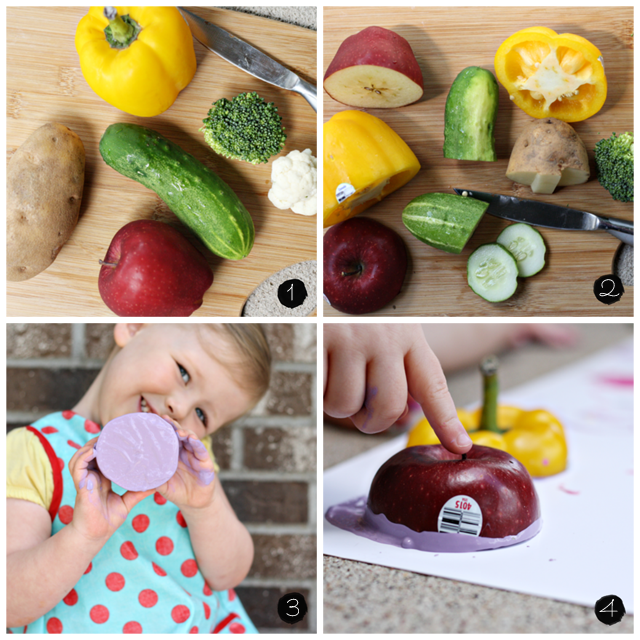 Vegetable and fruit stamping activity 6