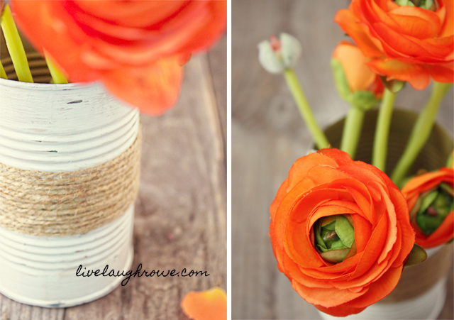 Repurpose a soup can as a flower vase with livelaughrowe.com